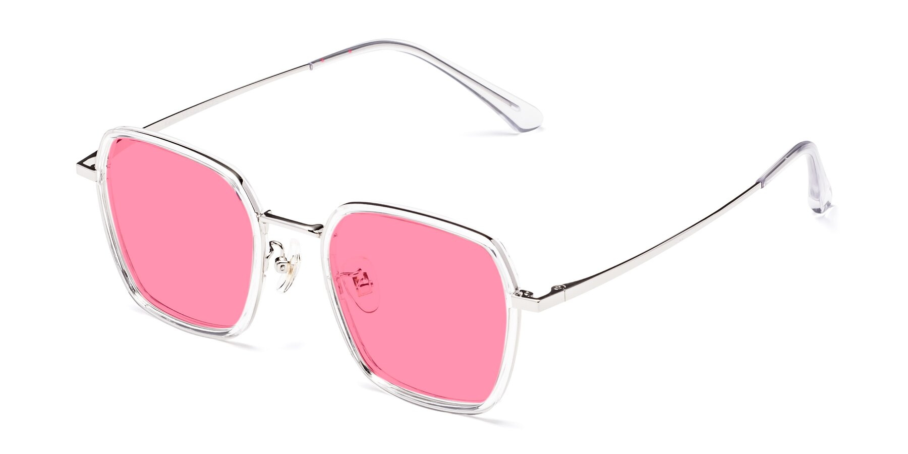 Angle of Kelly in Clear-Silver with Pink Tinted Lenses