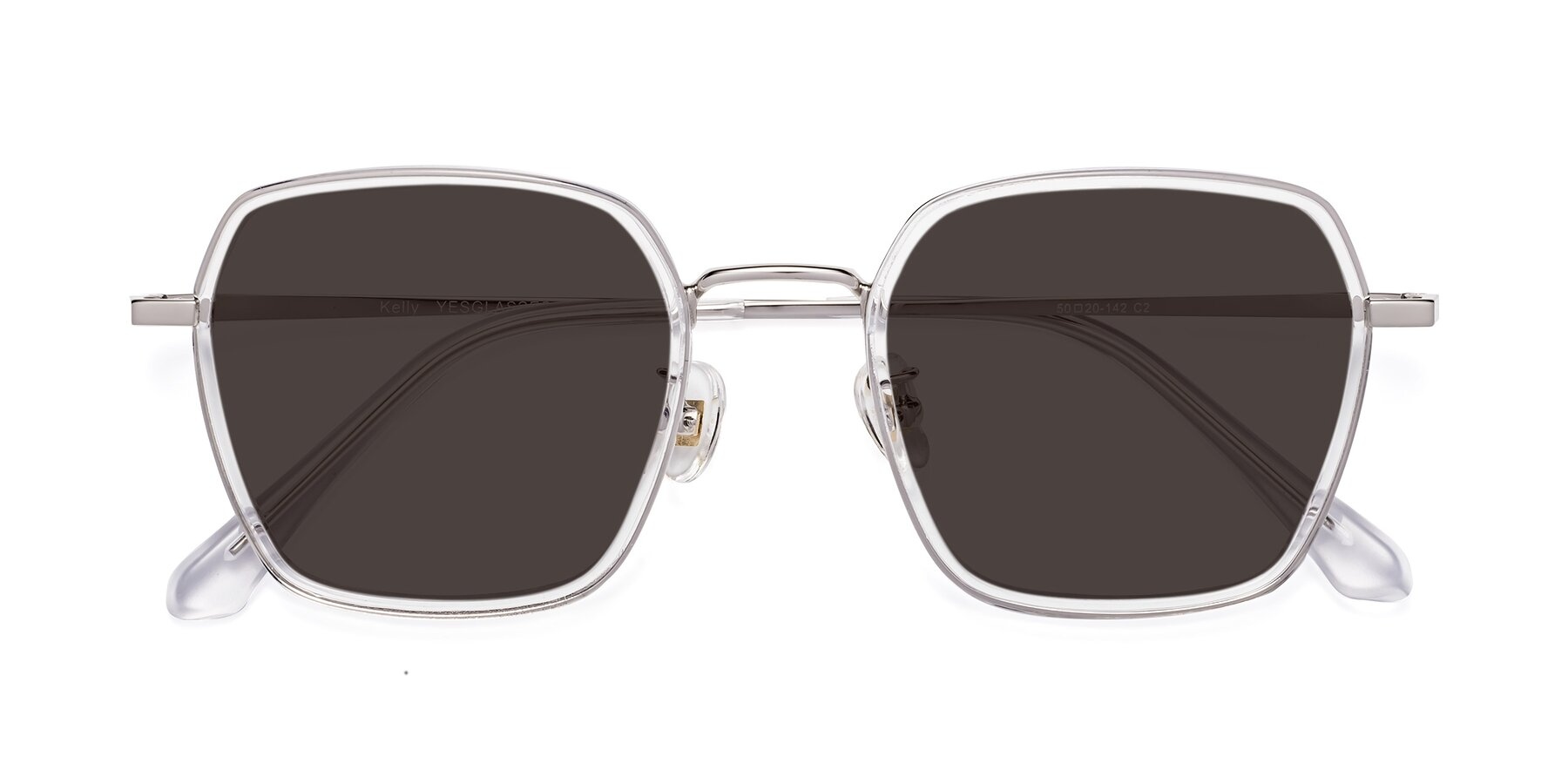 Folded Front of Kelly in Clear-Silver with Gray Tinted Lenses