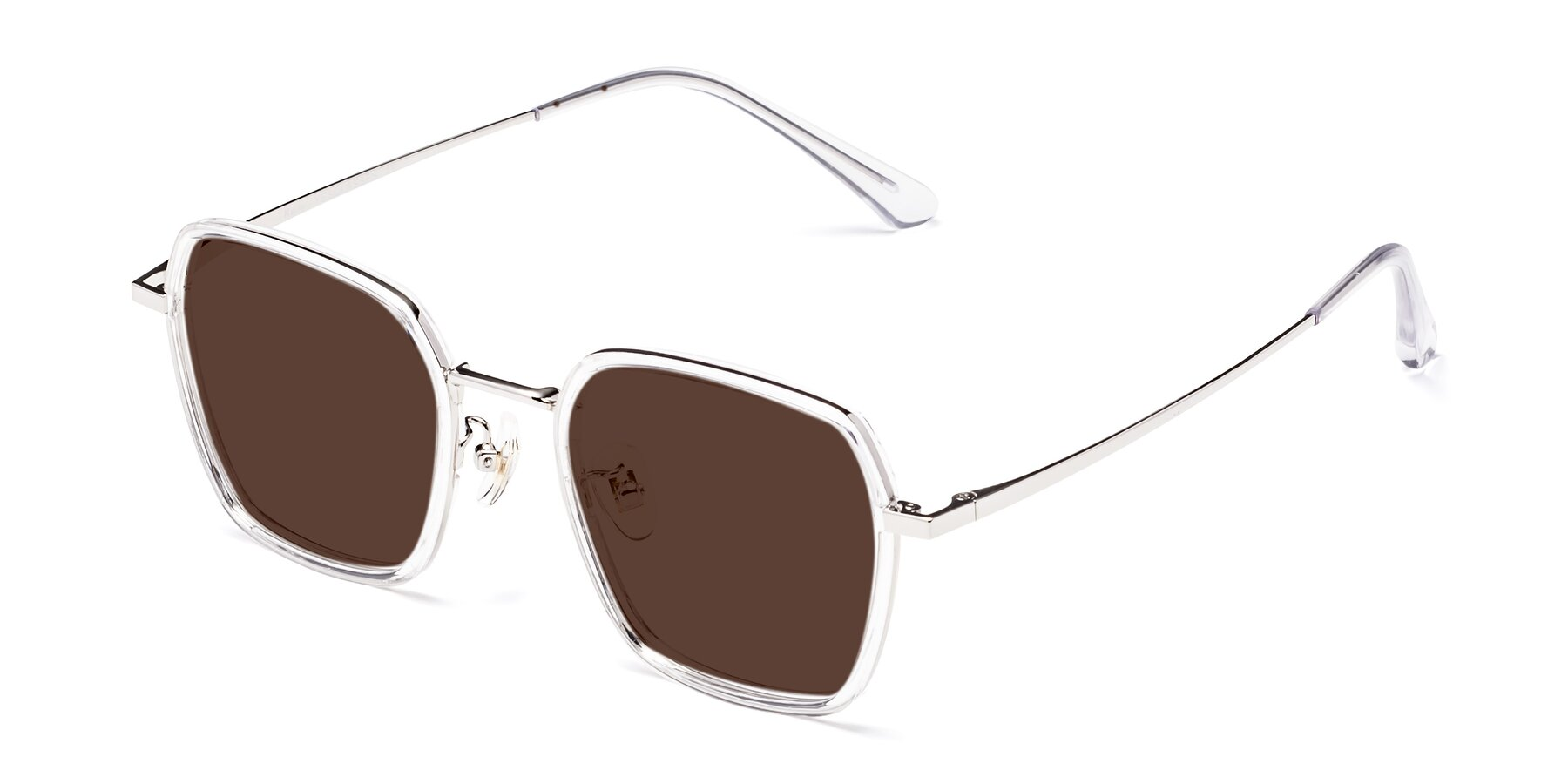 Angle of Kelly in Clear-Silver with Brown Tinted Lenses