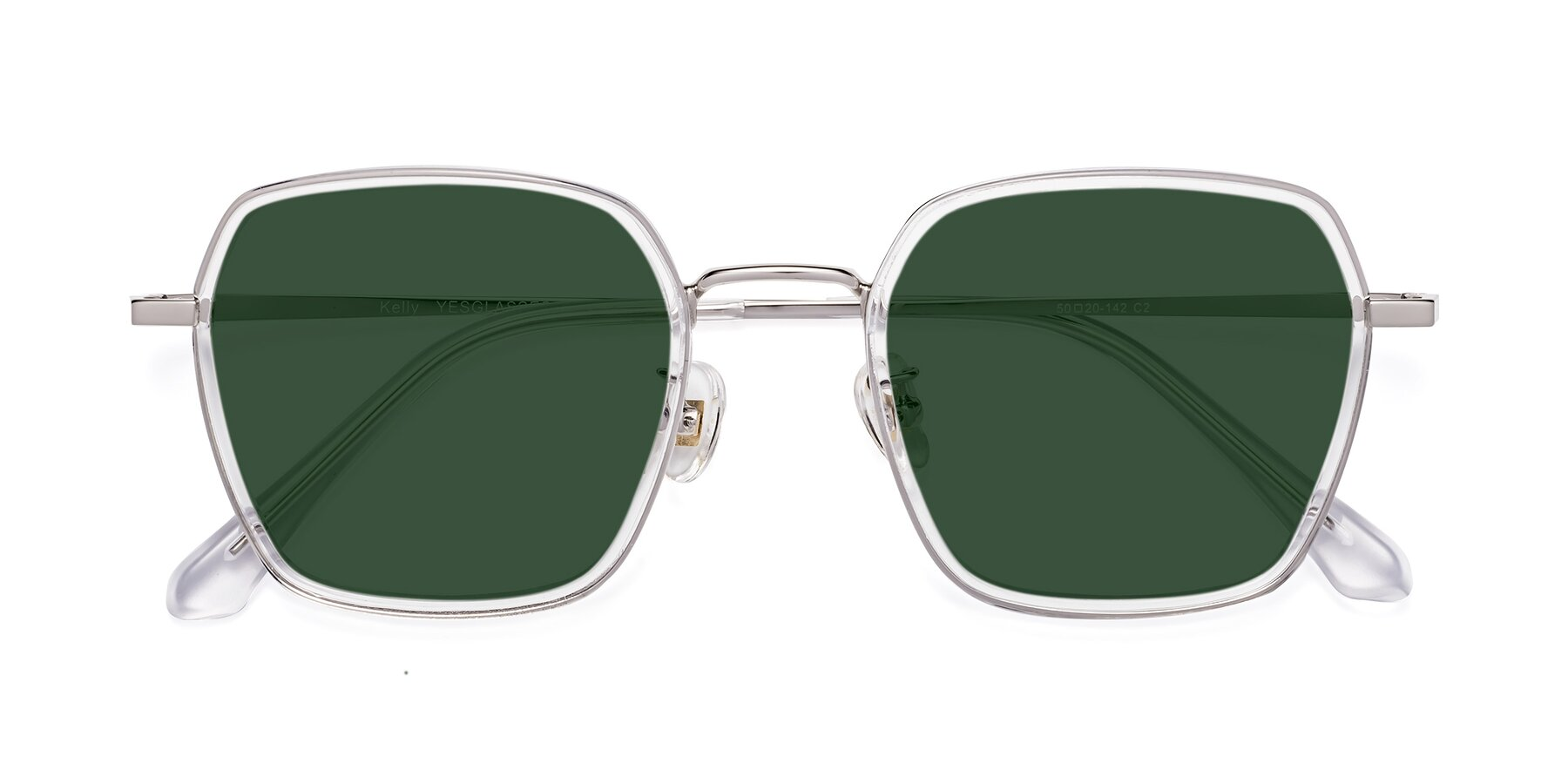 Folded Front of Kelly in Clear-Silver with Green Tinted Lenses
