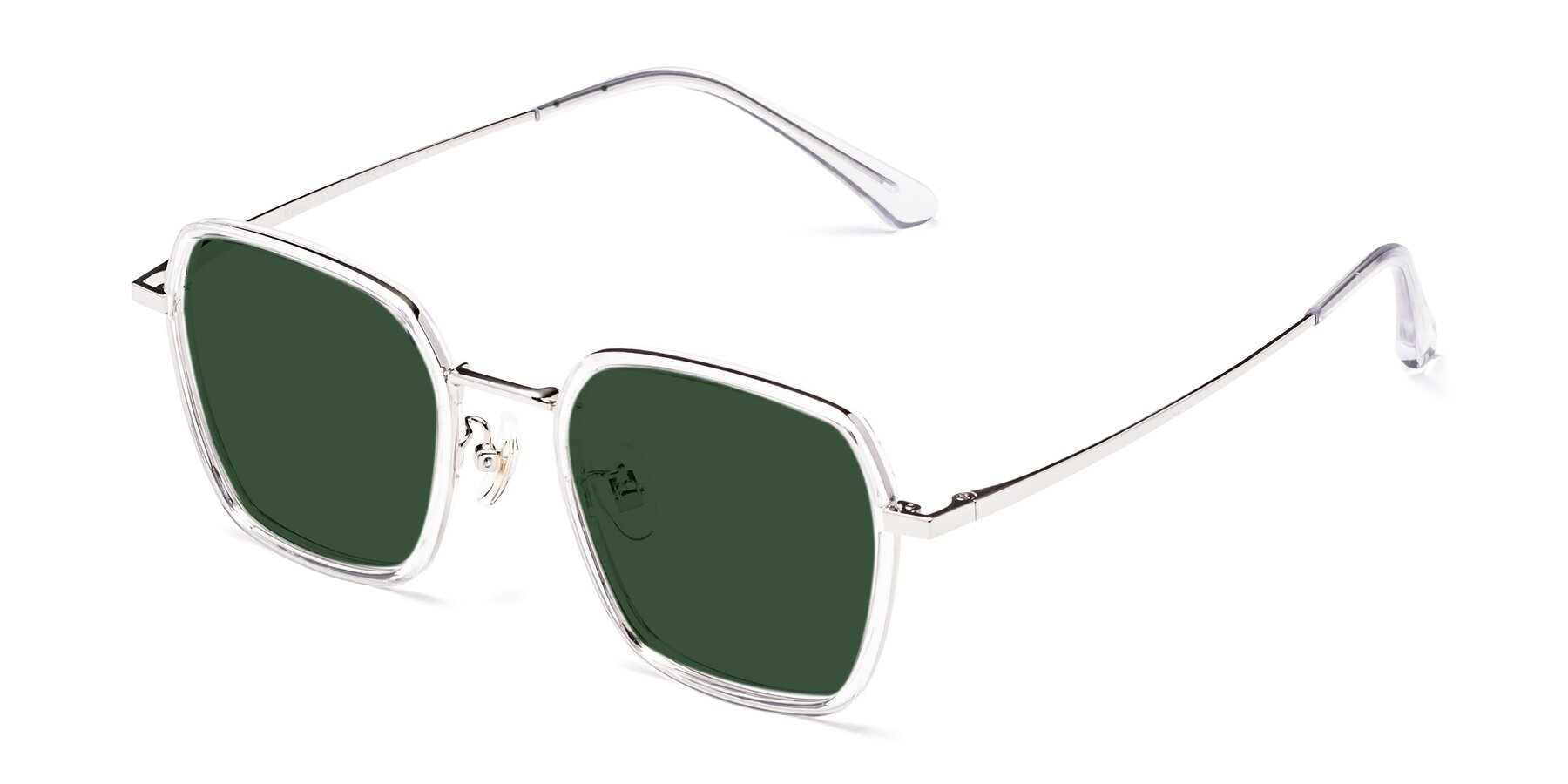 Angle of Kelly in Clear-Silver with Green Tinted Lenses