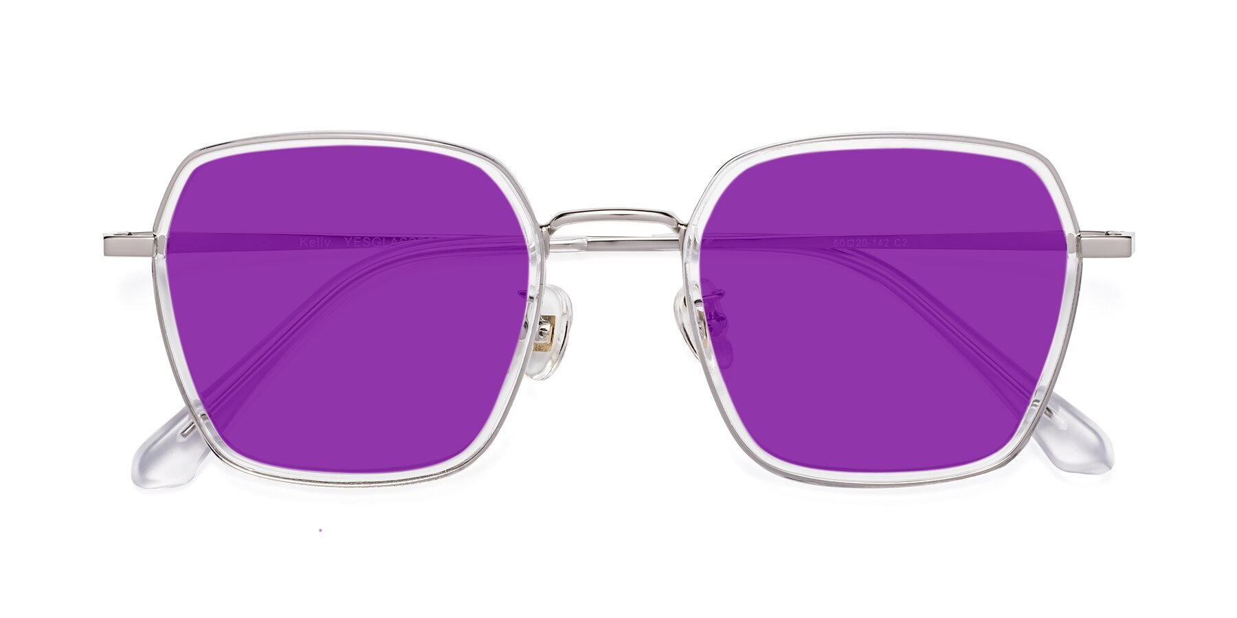 Folded Front of Kelly in Clear-Silver with Purple Tinted Lenses
