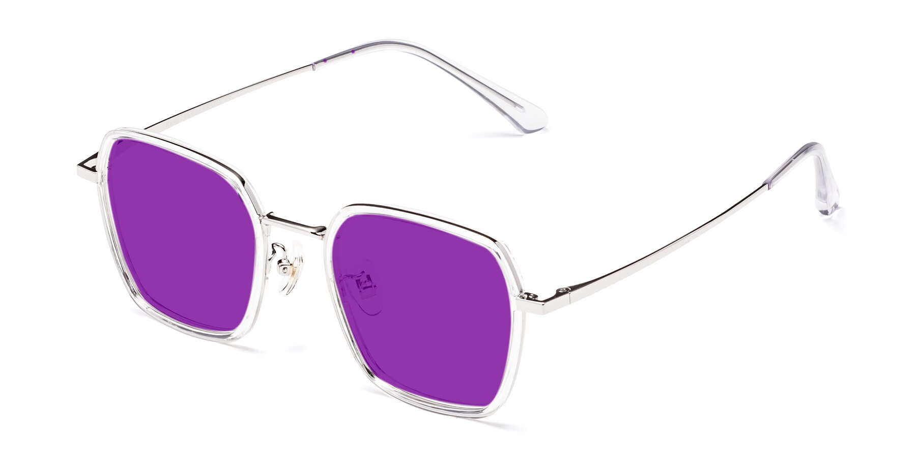 Angle of Kelly in Clear-Silver with Purple Tinted Lenses