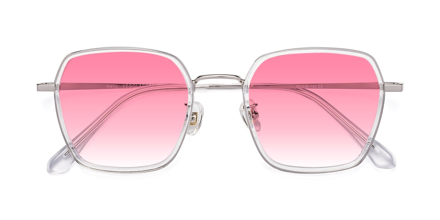 Kelly - Clear / Silver Gradient Sunglasses