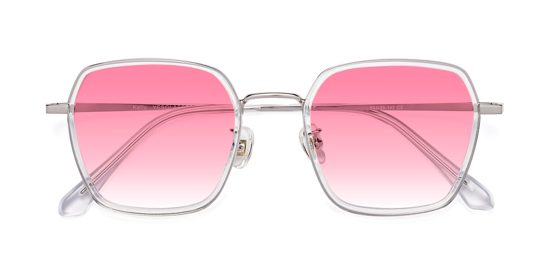 Folded Front of Kelly in Clear-Silver with Pink Gradient Lenses