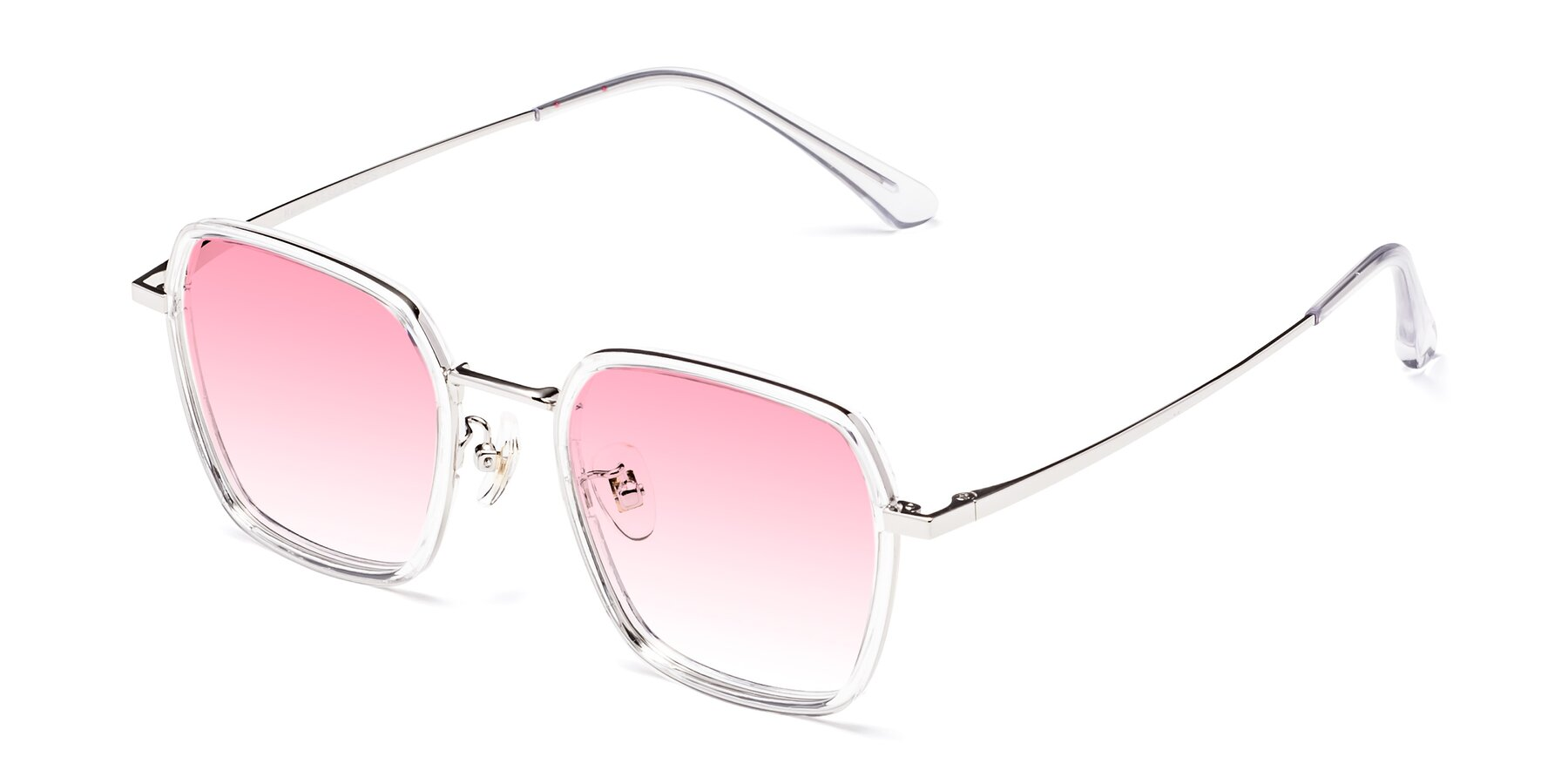 Angle of Kelly in Clear-Silver with Pink Gradient Lenses
