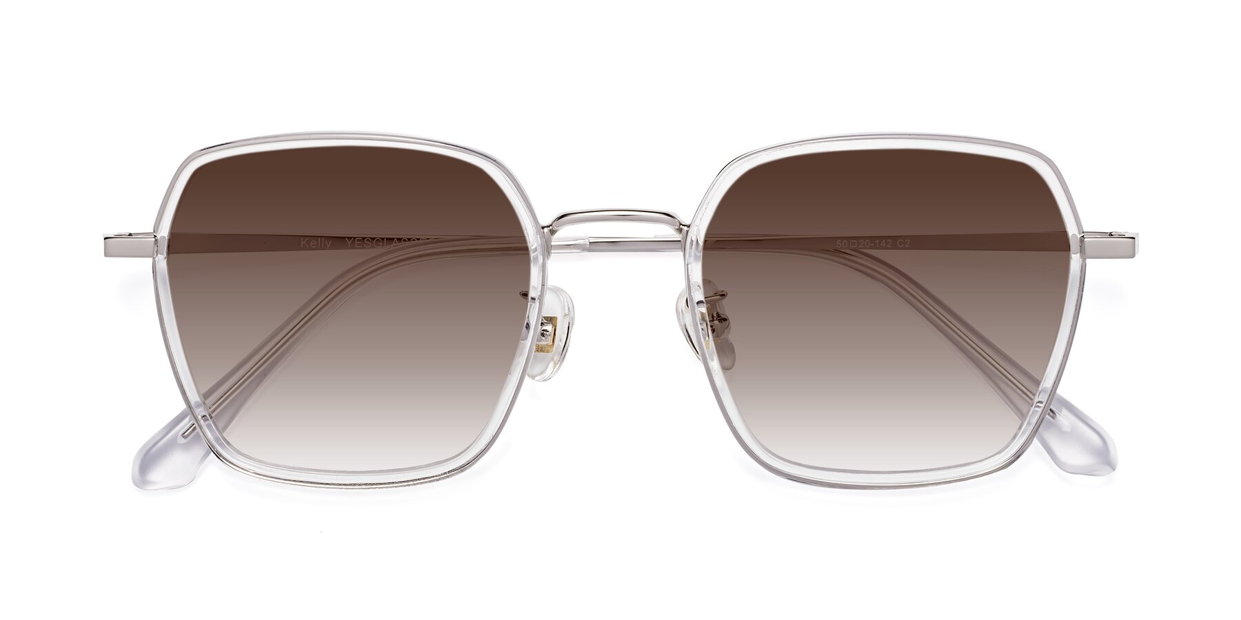 Folded Front of Kelly in Clear-Silver with Brown Gradient Lenses