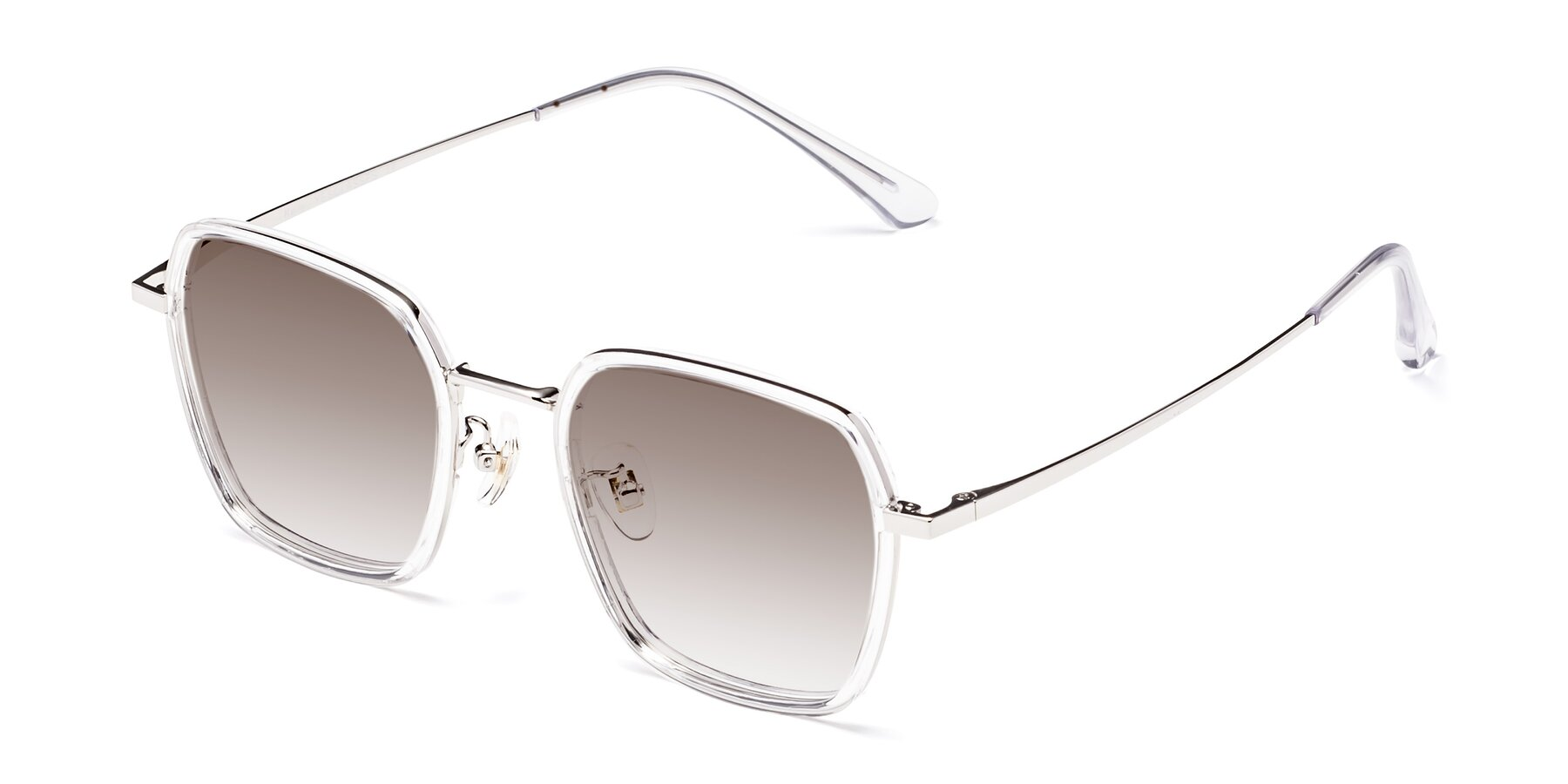 Angle of Kelly in Clear-Silver with Brown Gradient Lenses