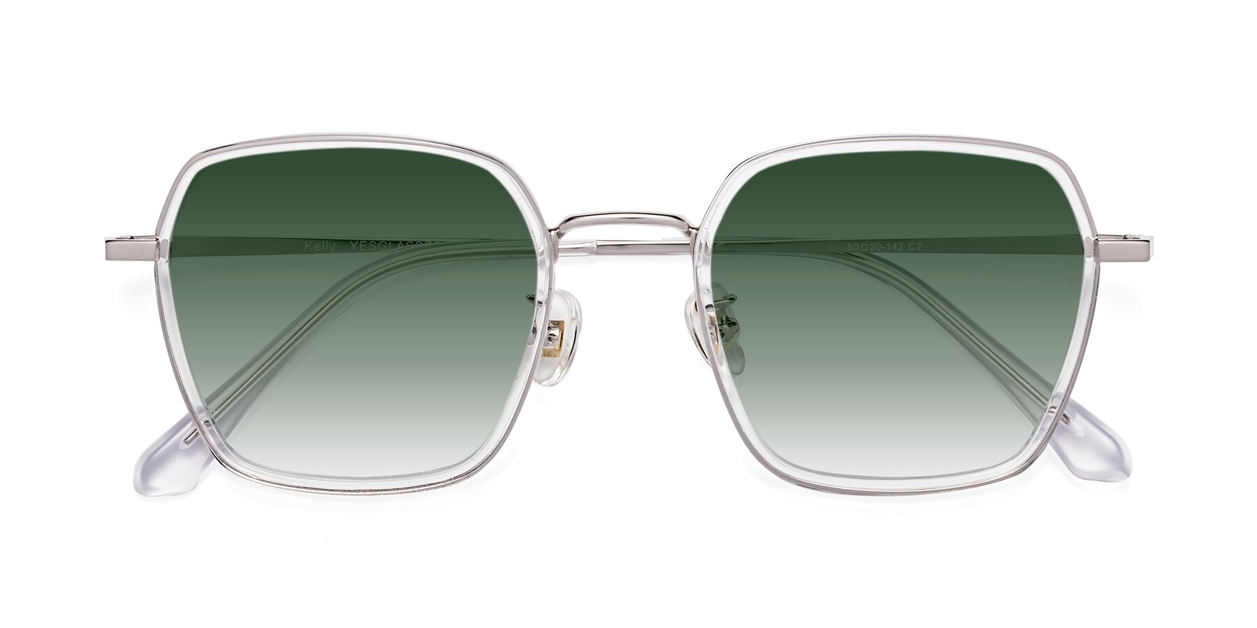 Folded Front of Kelly in Clear-Silver with Green Gradient Lenses