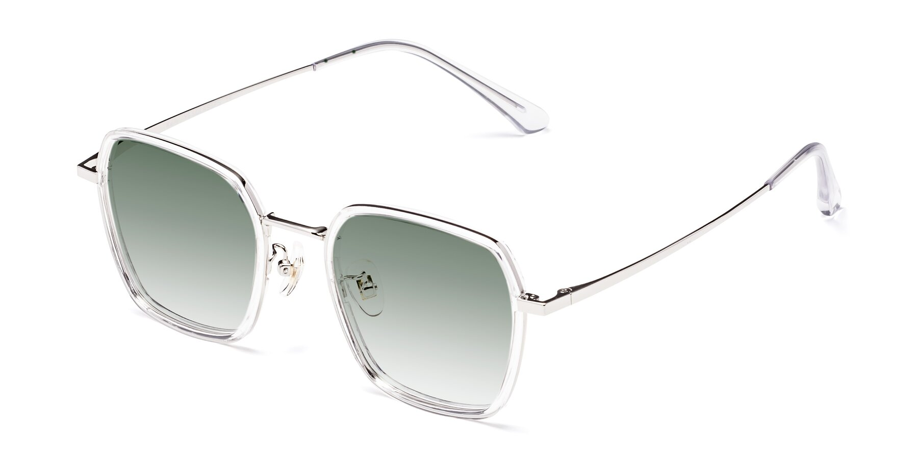 Angle of Kelly in Clear-Silver with Green Gradient Lenses