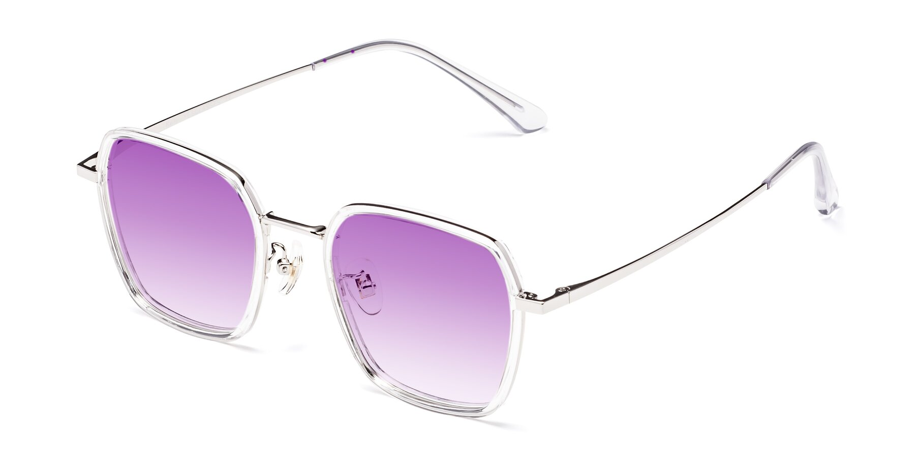 Angle of Kelly in Clear-Silver with Purple Gradient Lenses