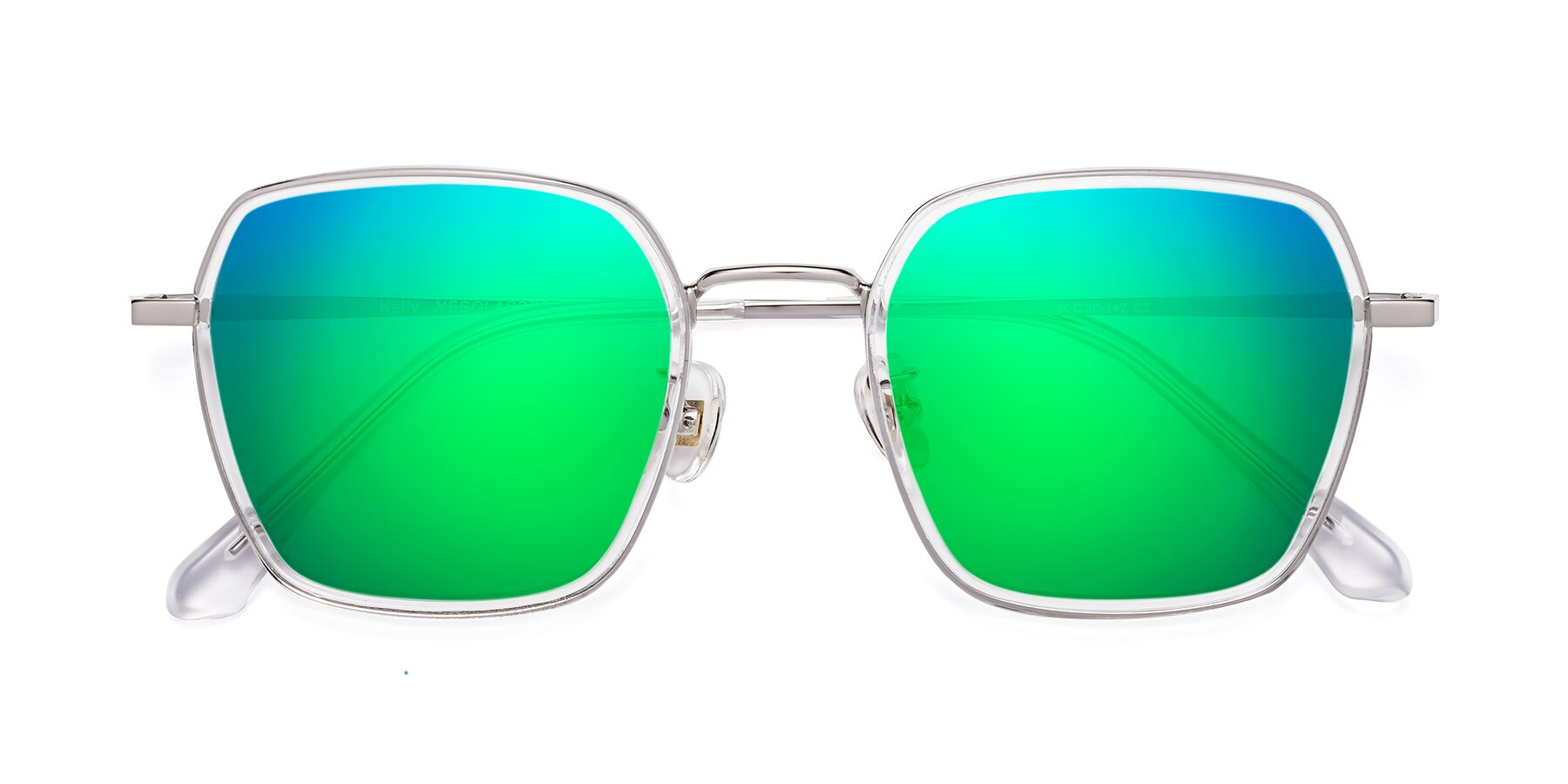 Folded Front of Kelly in Clear-Silver with Green Mirrored Lenses