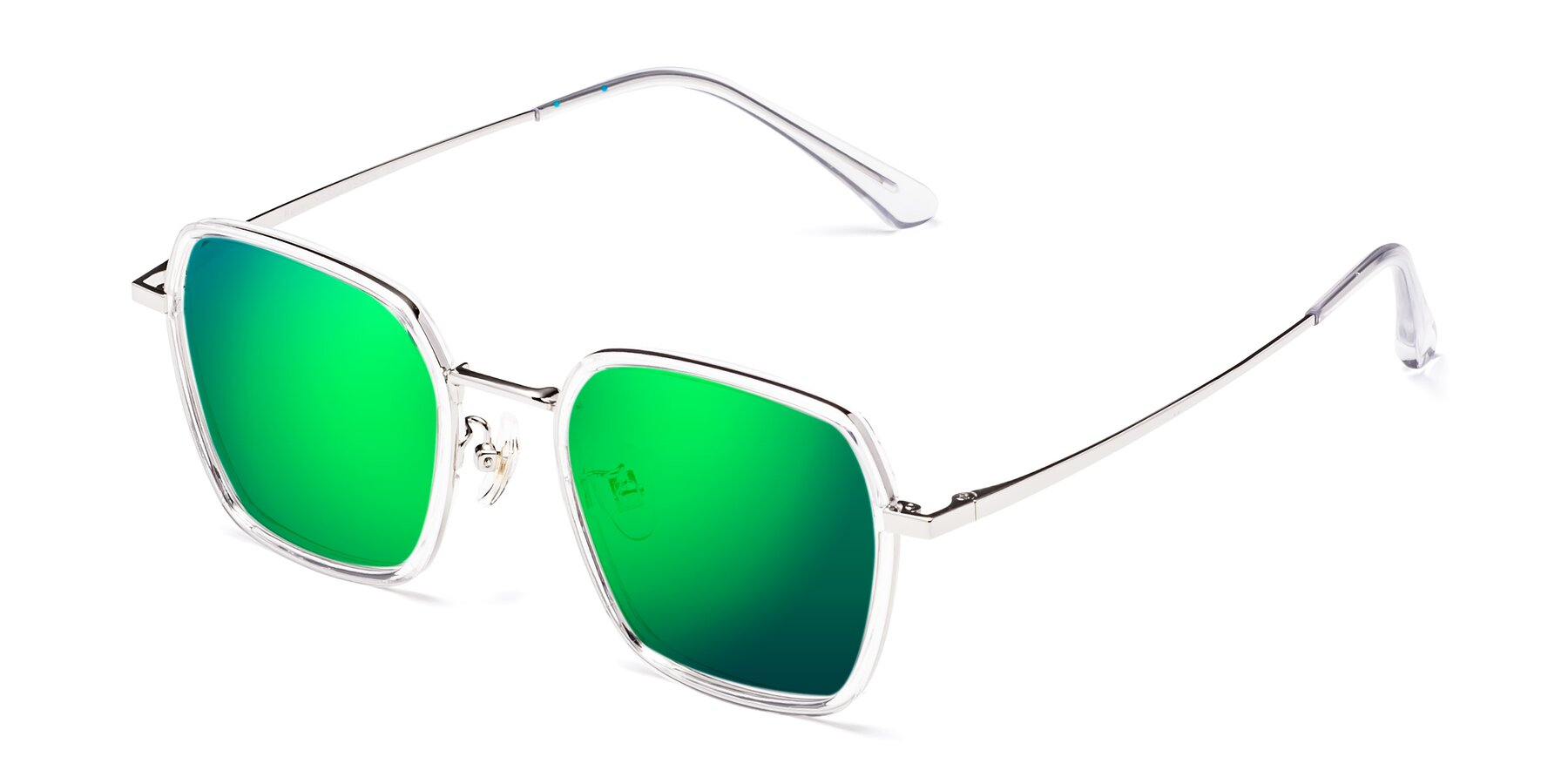 Angle of Kelly in Clear-Silver with Green Mirrored Lenses
