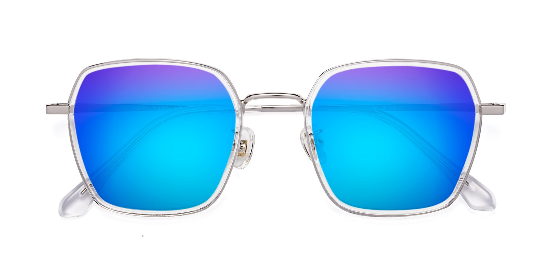 Folded Front of Kelly in Clear-Silver with Blue Mirrored Lenses