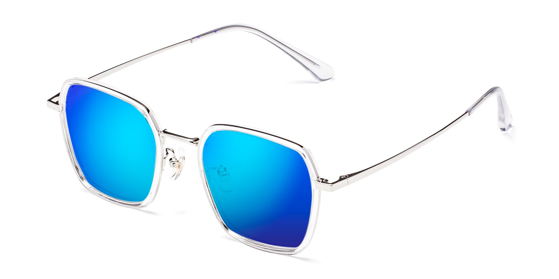 Angle of Kelly in Clear-Silver with Blue Mirrored Lenses