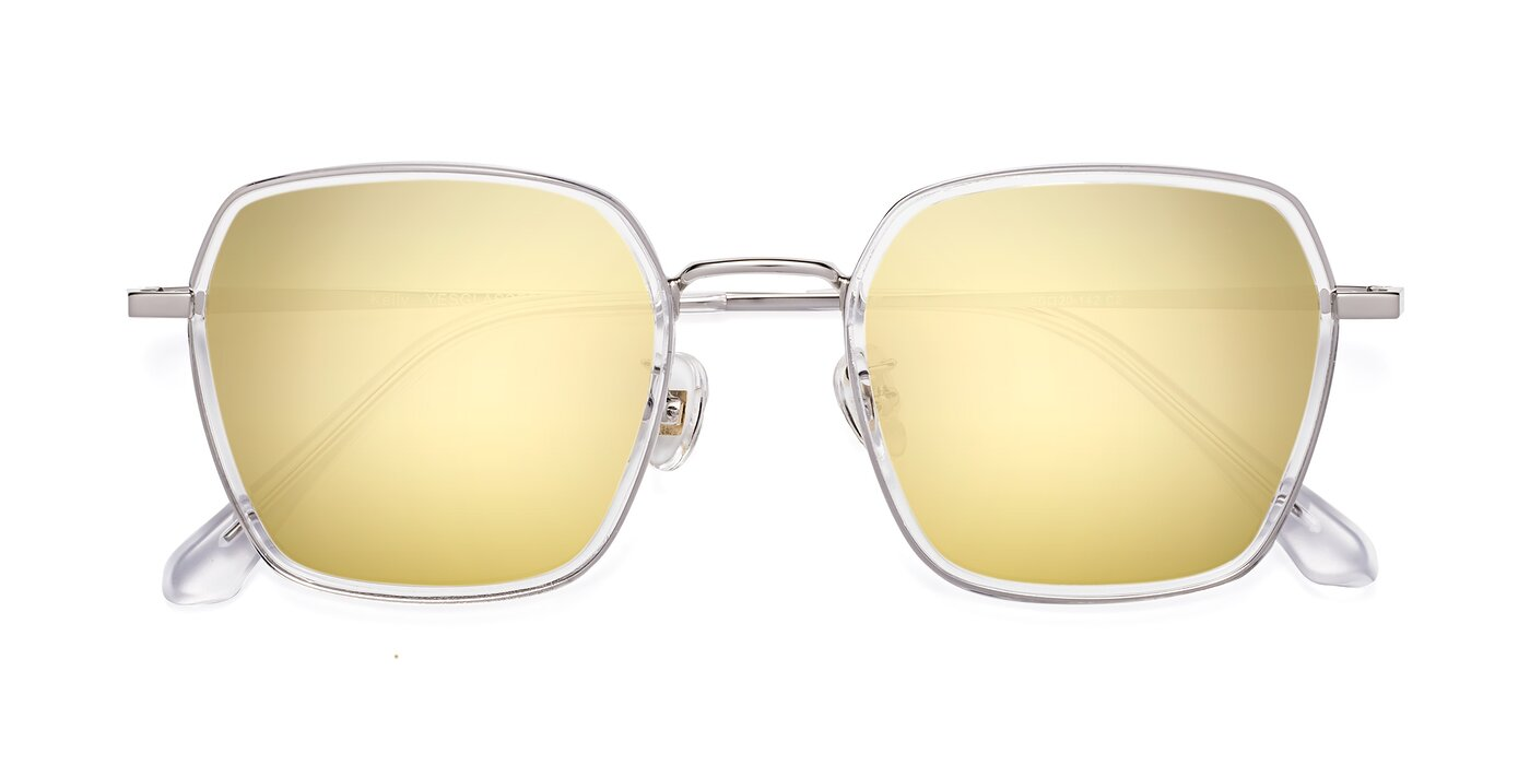 Kelly - Clear / Silver Flash Mirrored Sunglasses
