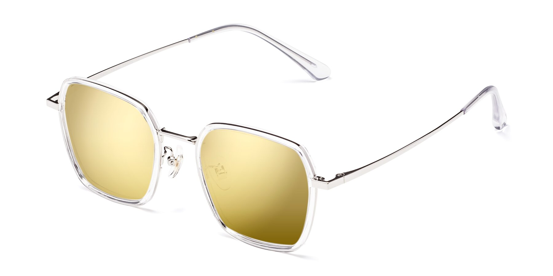Angle of Kelly in Clear-Silver with Gold Mirrored Lenses