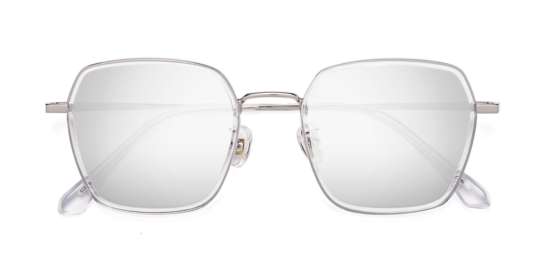 Folded Front of Kelly in Clear-Silver with Silver Mirrored Lenses
