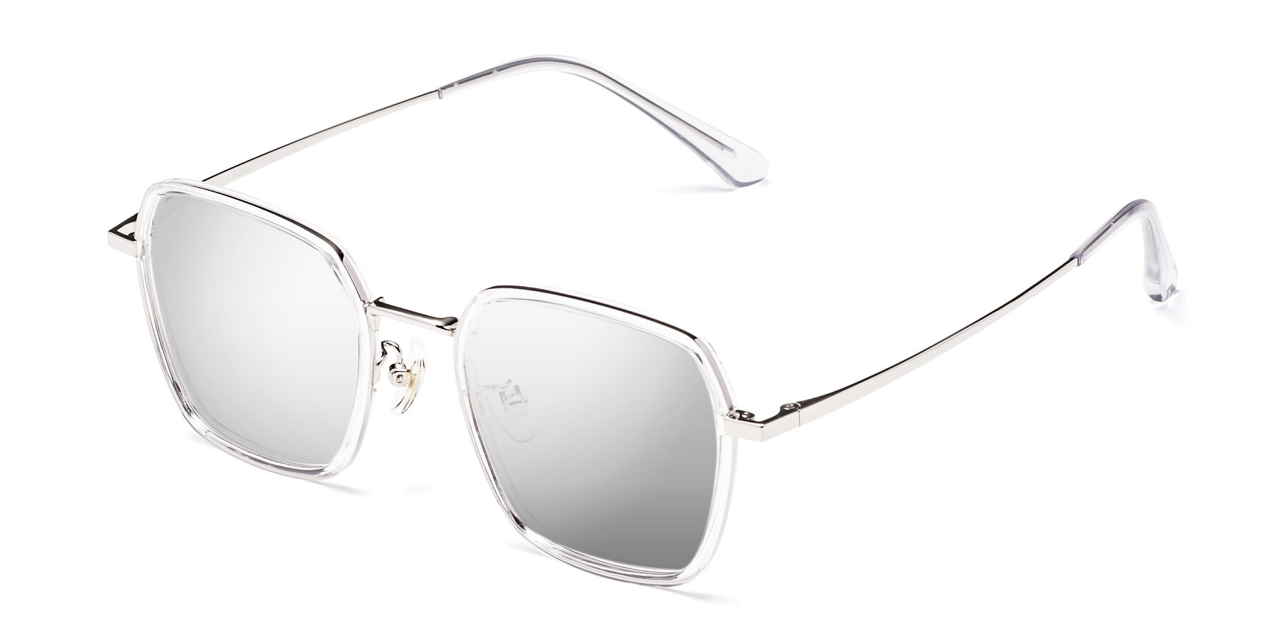 Angle of Kelly in Clear-Silver with Silver Mirrored Lenses