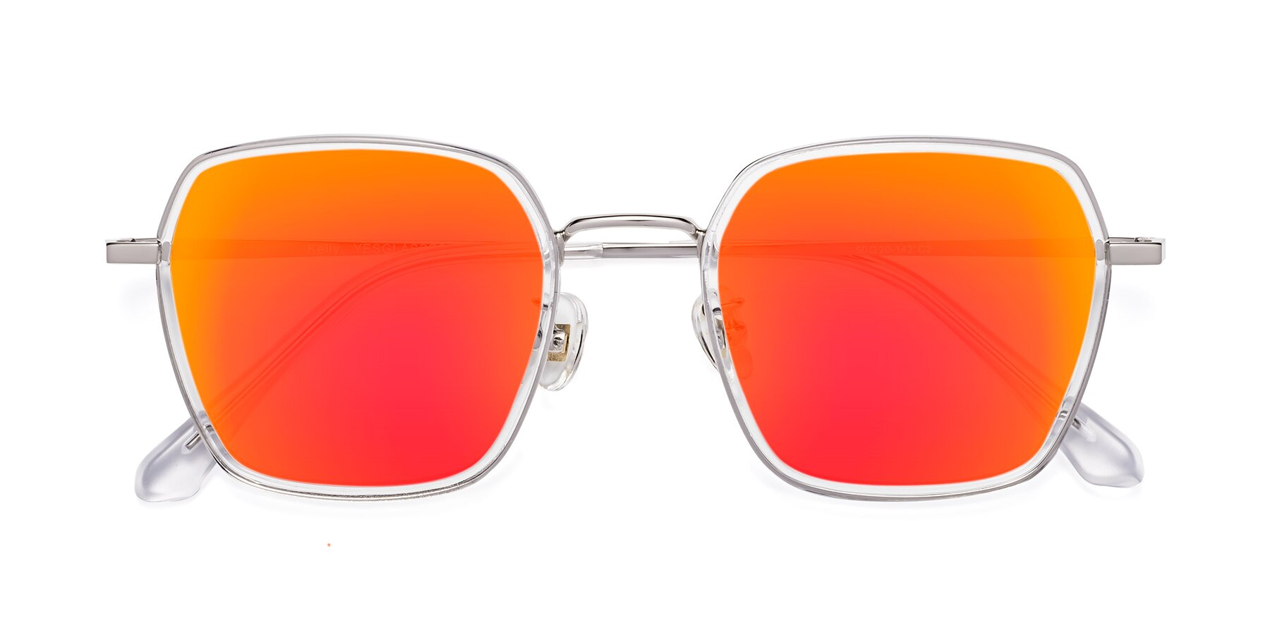 Folded Front of Kelly in Clear-Silver with Red Gold Mirrored Lenses