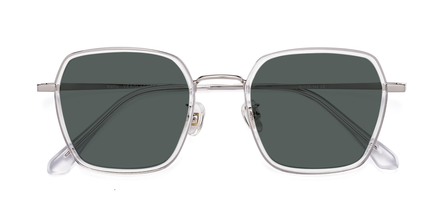 Folded Front of Kelly in Clear-Silver with Gray Polarized Lenses