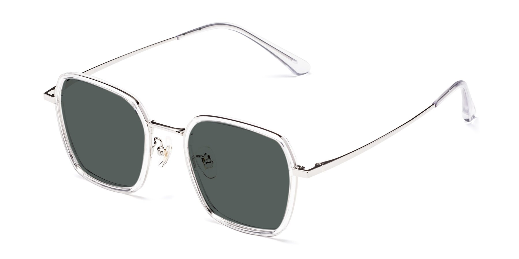 Angle of Kelly in Clear-Silver with Gray Polarized Lenses