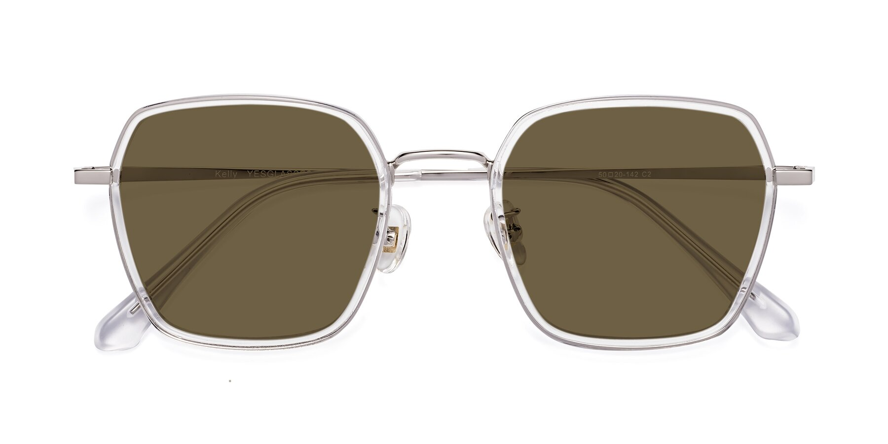 Folded Front of Kelly in Clear-Silver with Brown Polarized Lenses