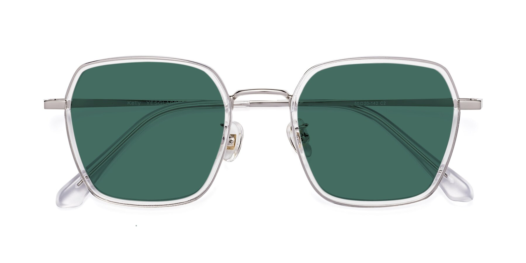 Folded Front of Kelly in Clear-Silver with Green Polarized Lenses