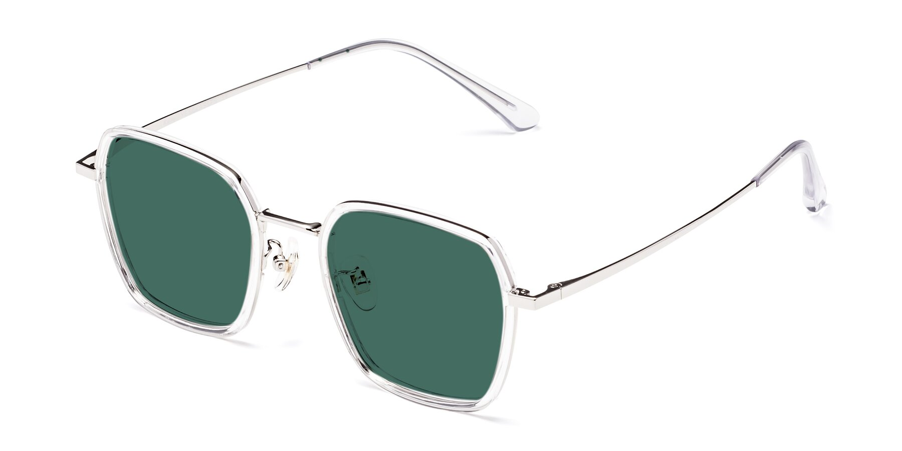 Angle of Kelly in Clear-Silver with Green Polarized Lenses