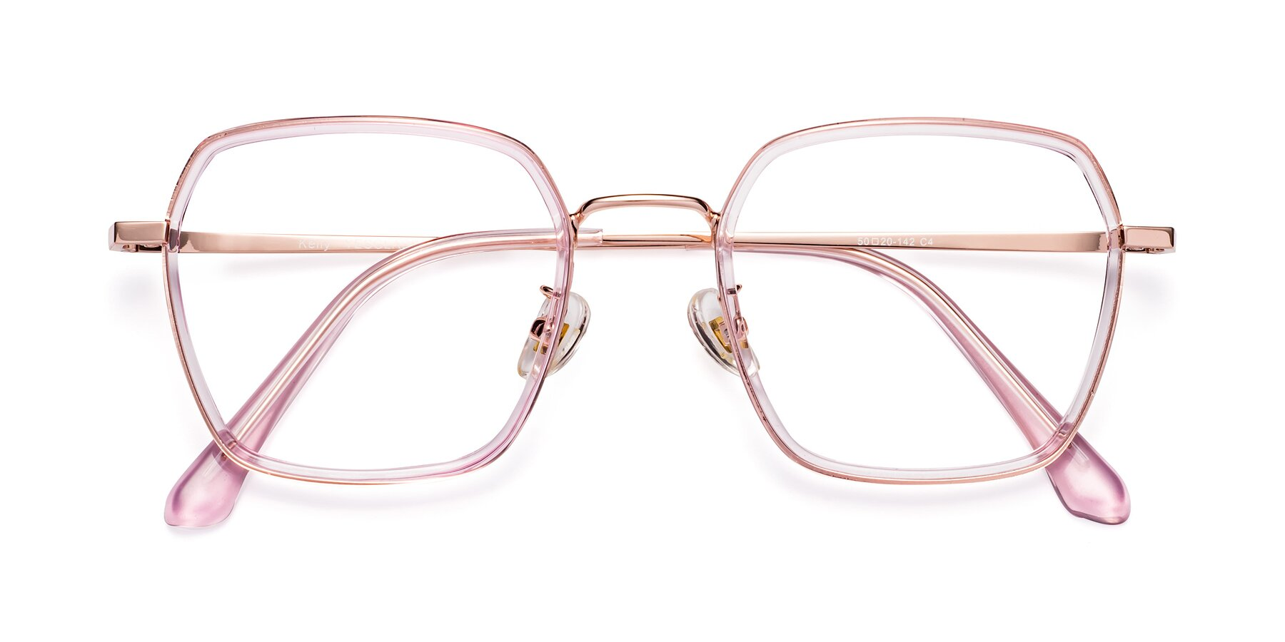 Folded Front of Kelly in Pink-Rose Gold with Clear Eyeglass Lenses