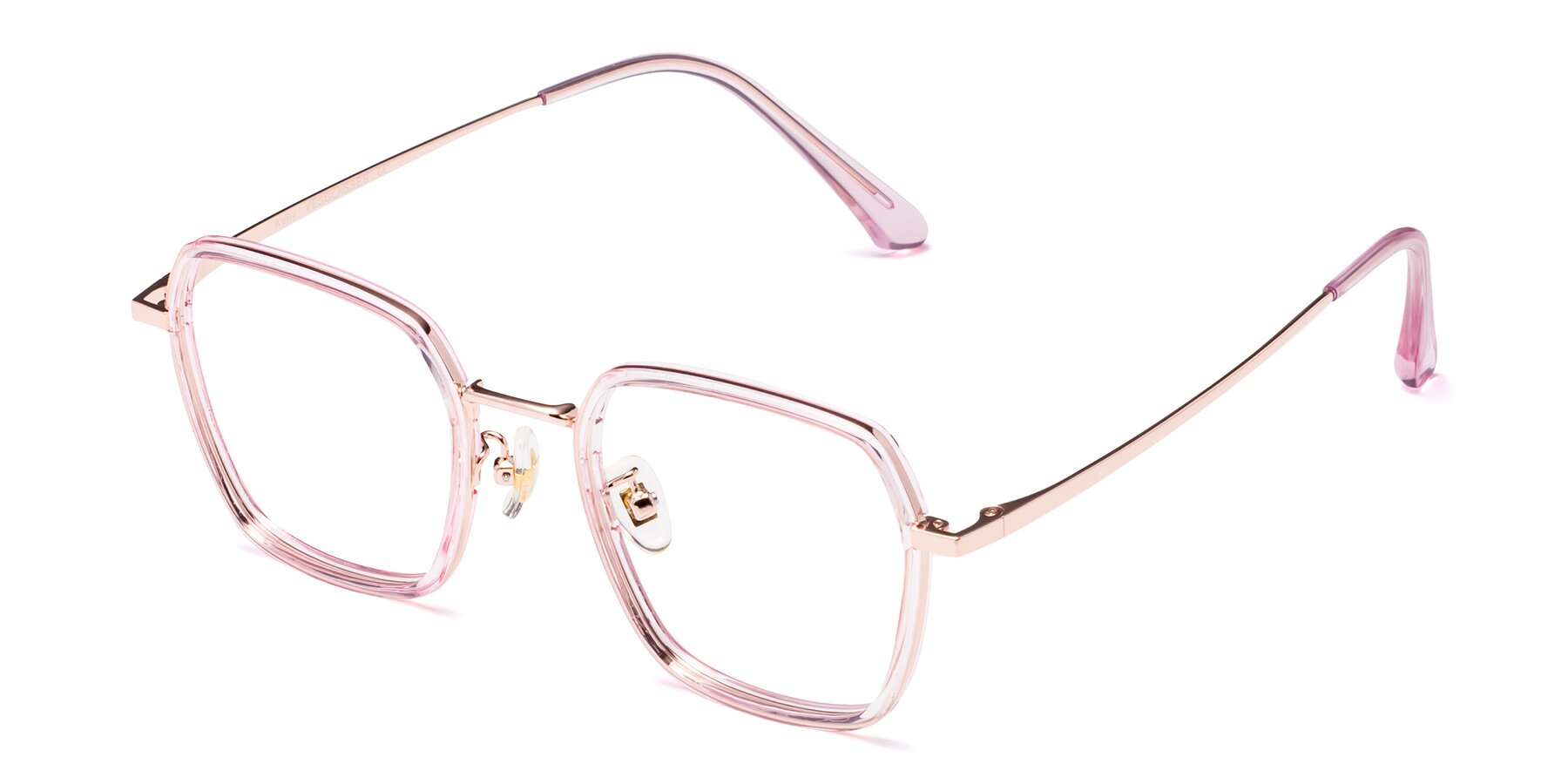 Angle of Kelly in Pink-Rose Gold with Clear Eyeglass Lenses