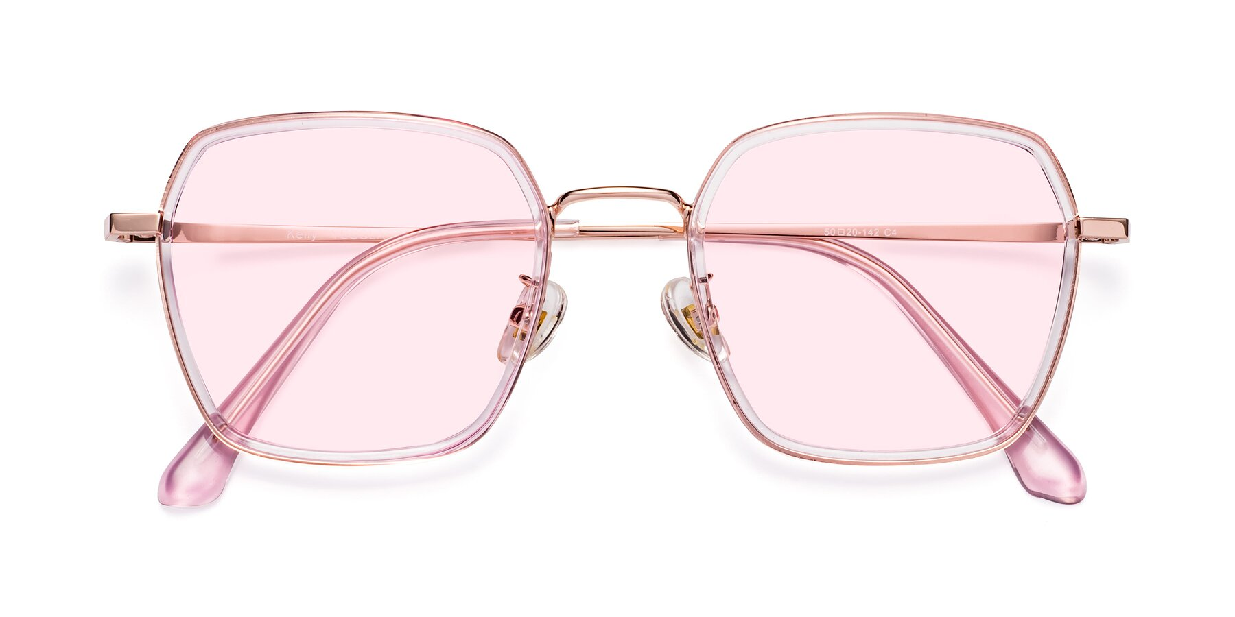 Folded Front of Kelly in Pink-Rose Gold with Light Pink Tinted Lenses