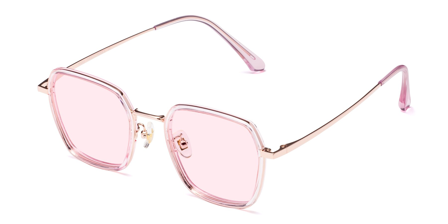 Angle of Kelly in Pink-Rose Gold with Light Pink Tinted Lenses