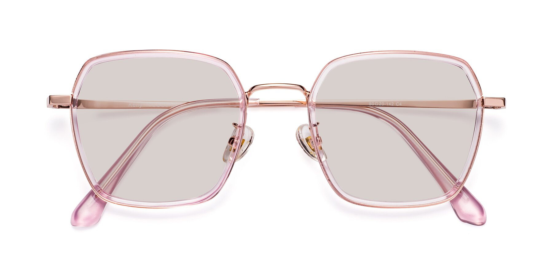 Folded Front of Kelly in Pink-Rose Gold with Light Brown Tinted Lenses