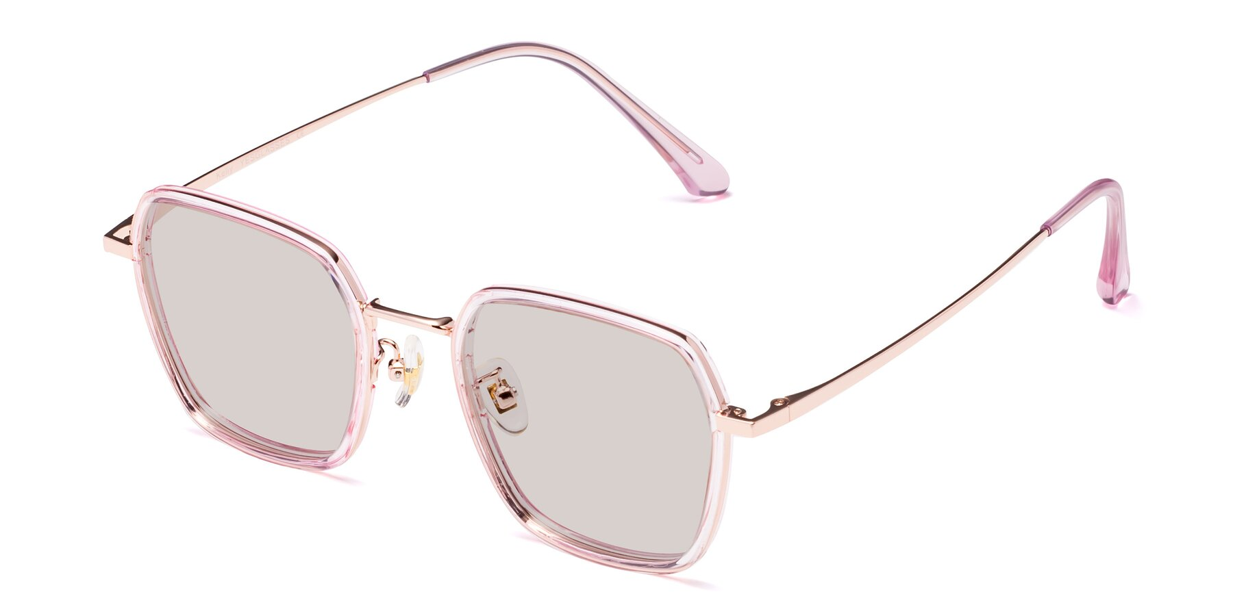 Angle of Kelly in Pink-Rose Gold with Light Brown Tinted Lenses