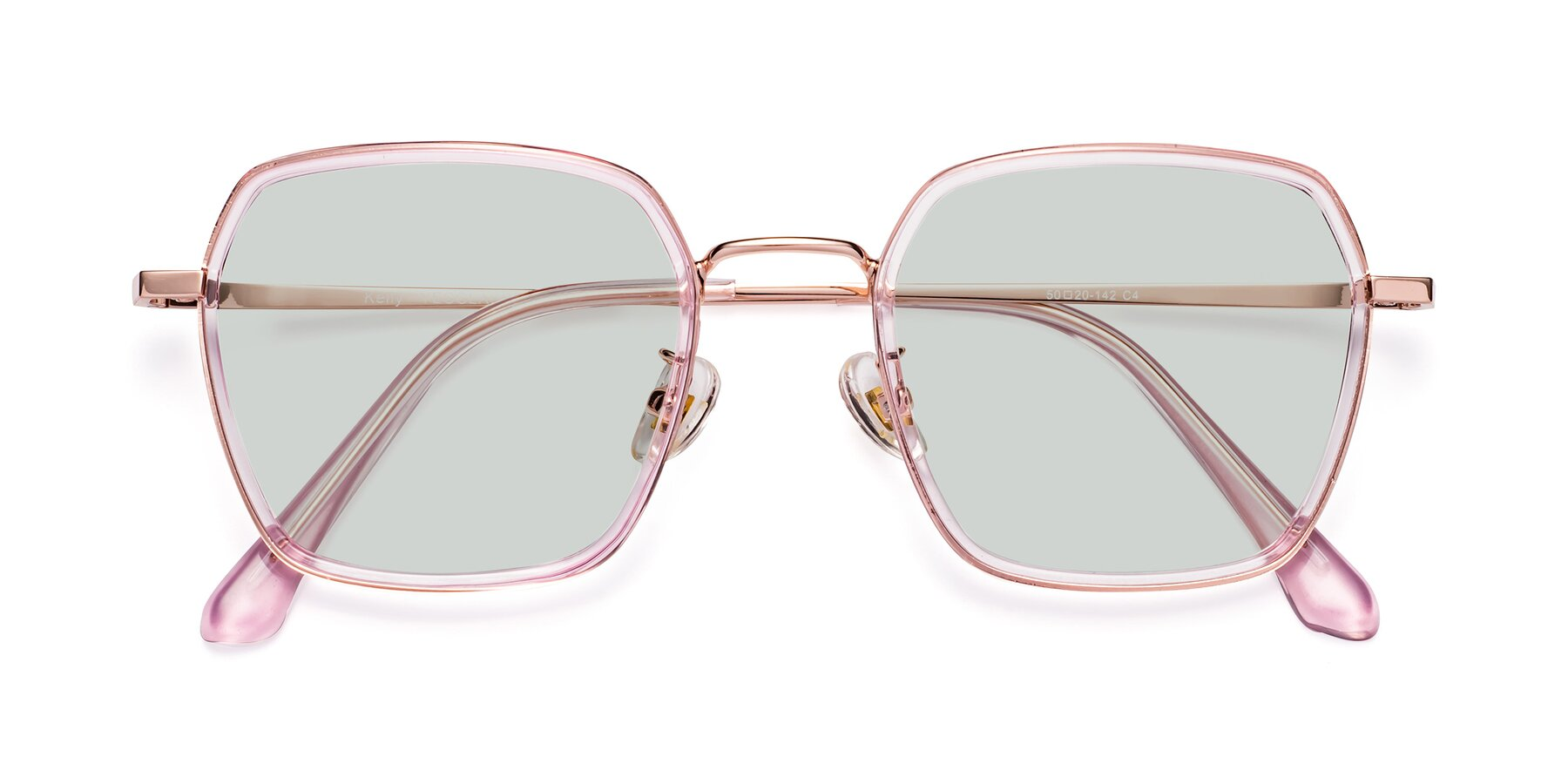 Folded Front of Kelly in Pink-Rose Gold with Light Green Tinted Lenses