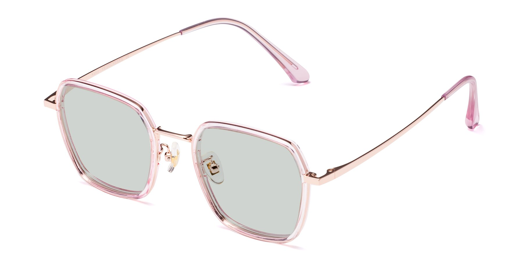 Angle of Kelly in Pink-Rose Gold with Light Green Tinted Lenses