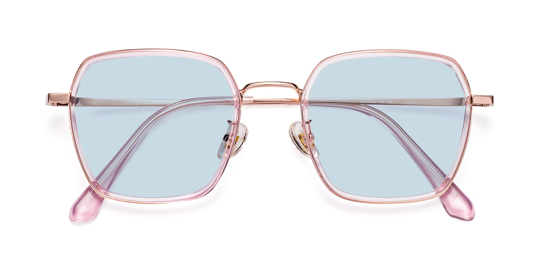 Folded Front of Kelly in Pink-Rose Gold with Light Blue Tinted Lenses