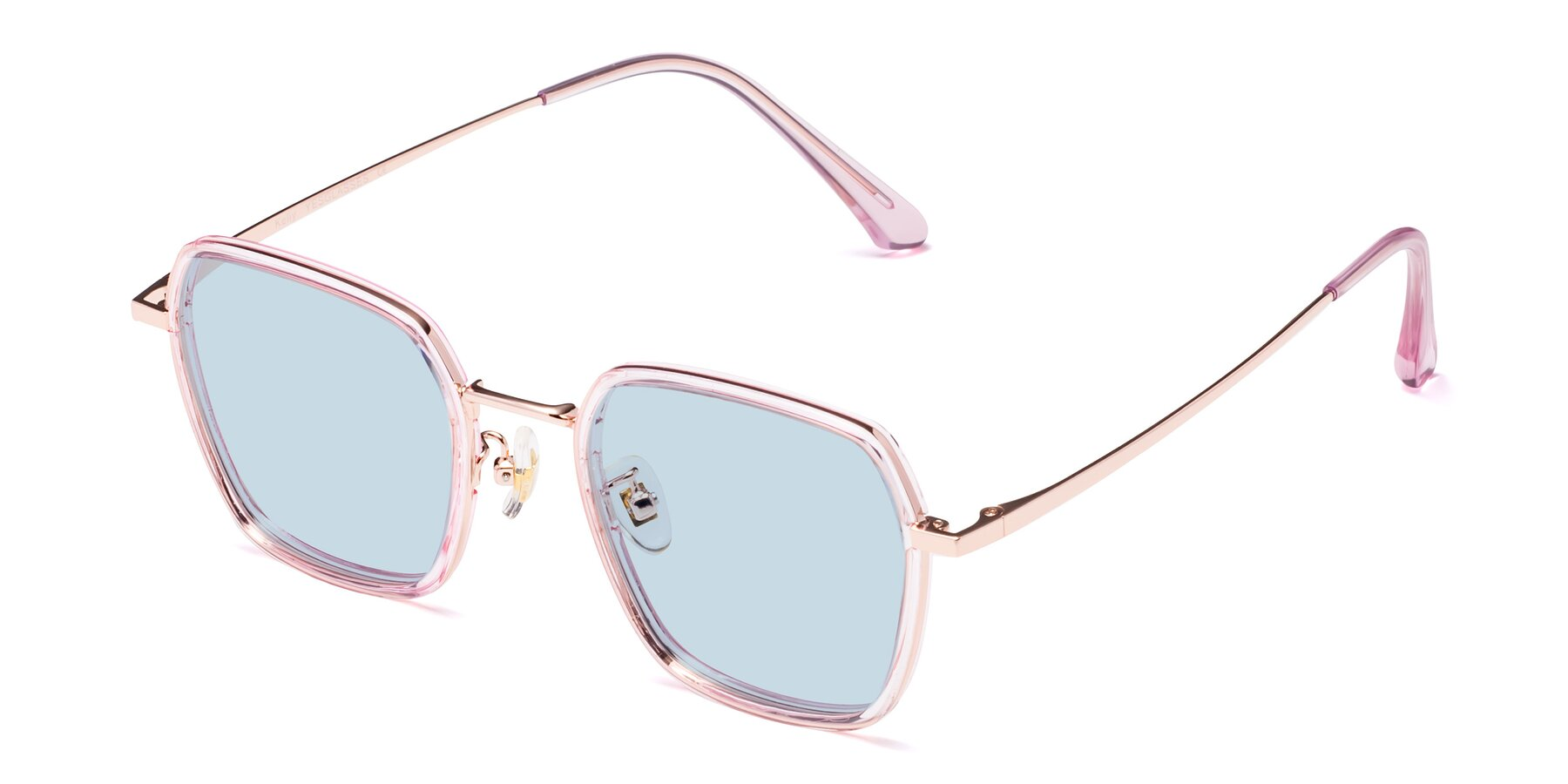 Angle of Kelly in Pink-Rose Gold with Light Blue Tinted Lenses