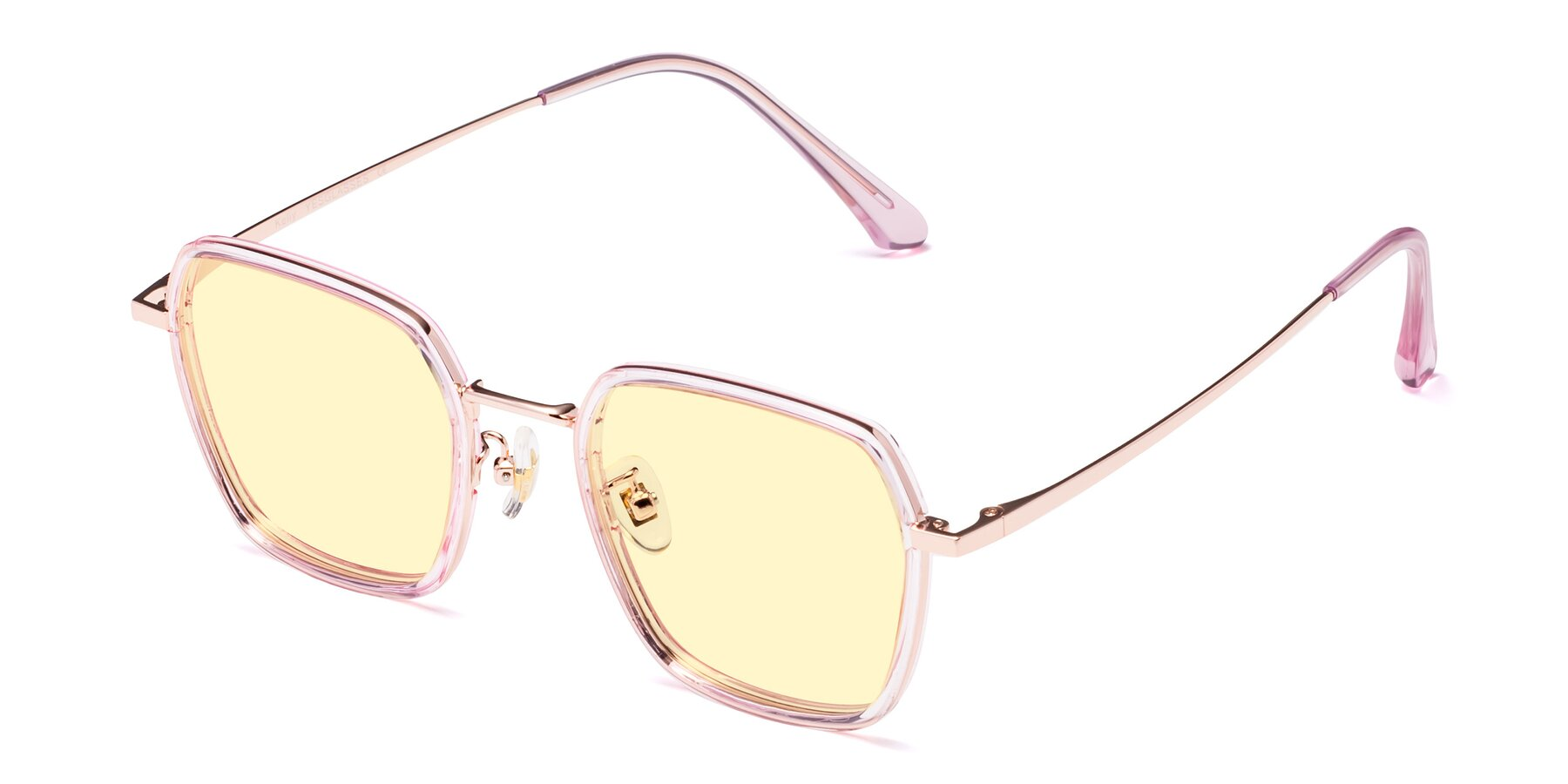 Angle of Kelly in Pink-Rose Gold with Light Yellow Tinted Lenses
