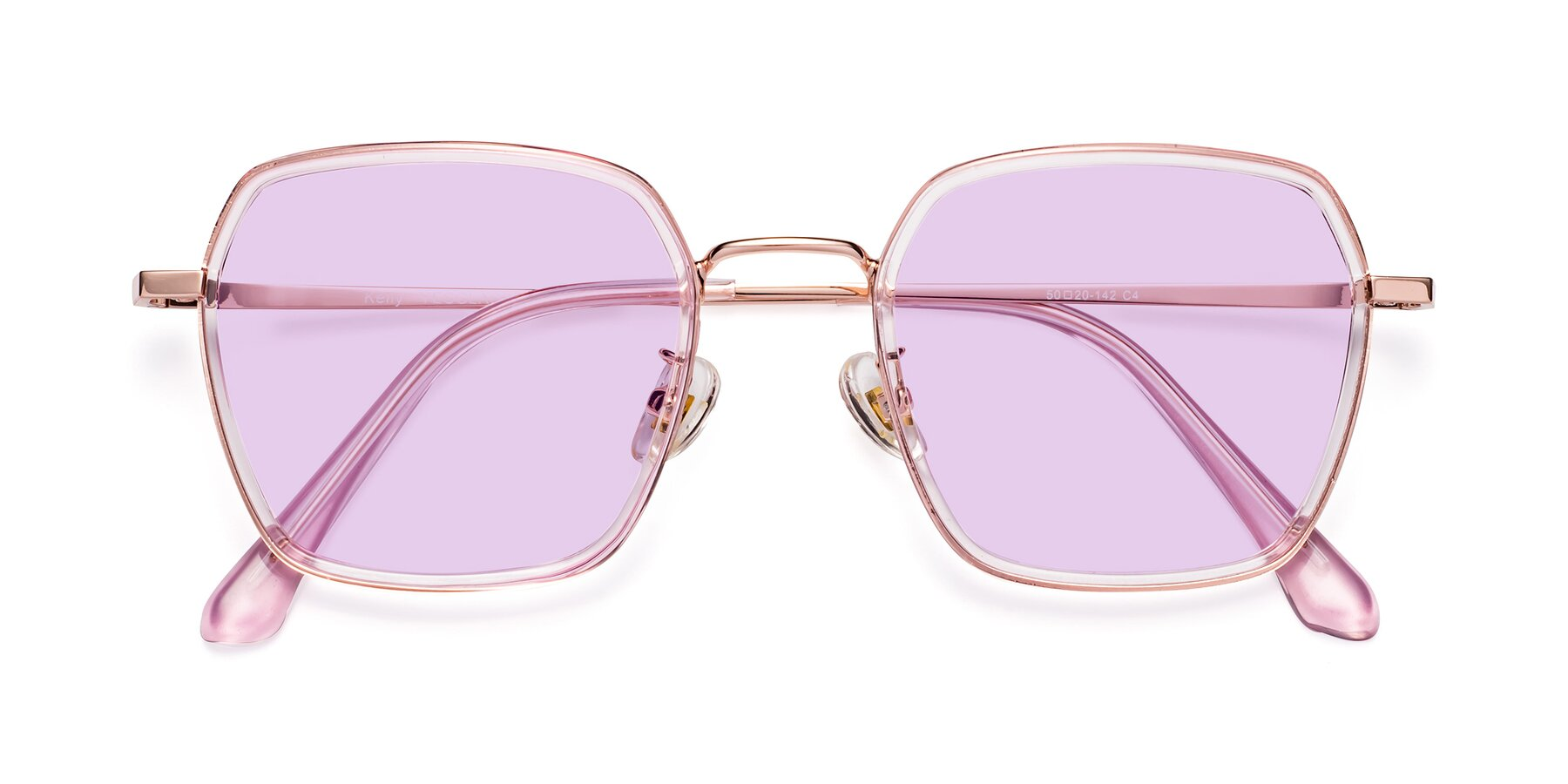 Folded Front of Kelly in Pink-Rose Gold with Light Purple Tinted Lenses