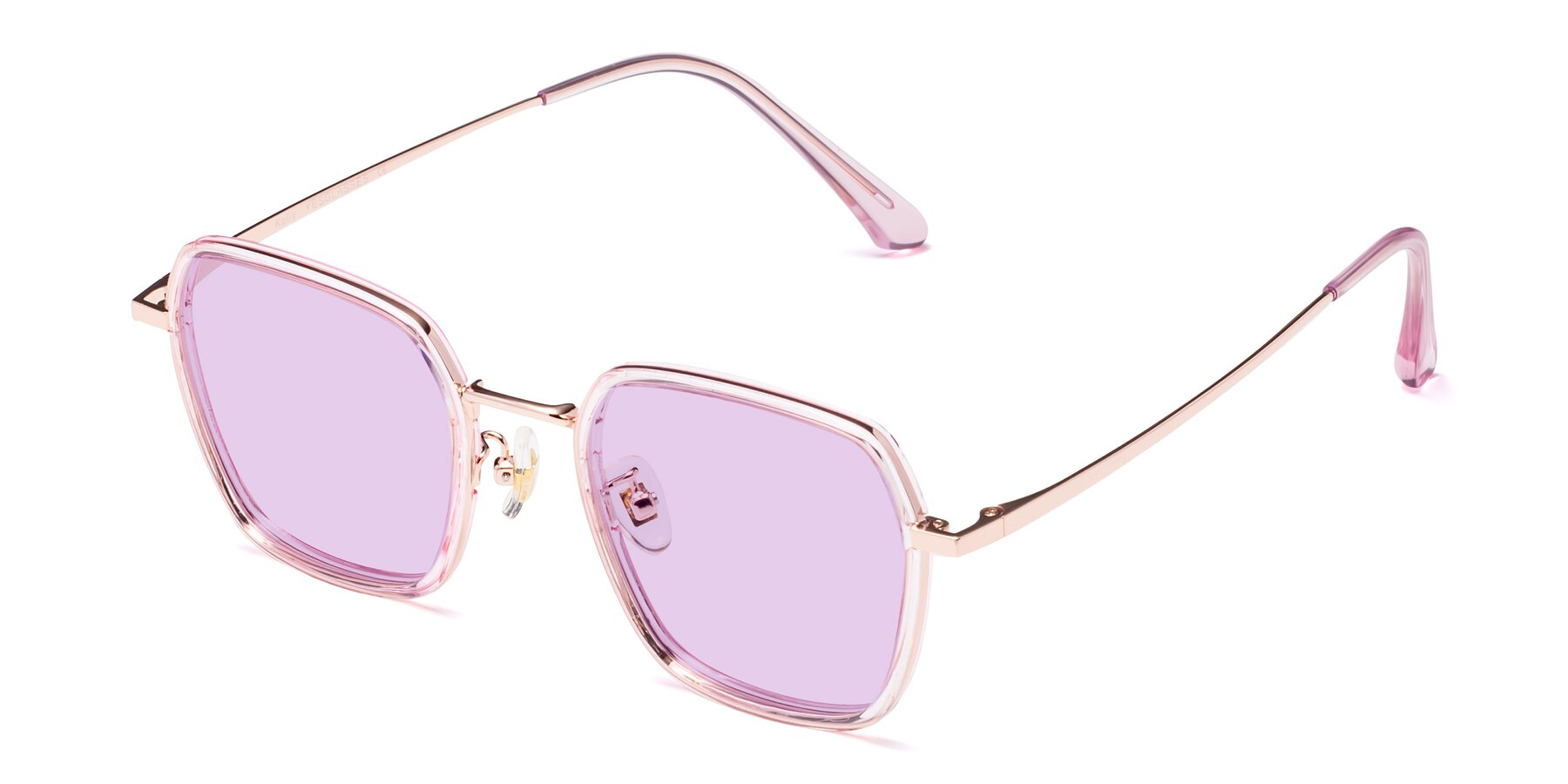 Angle of Kelly in Pink-Rose Gold with Light Purple Tinted Lenses