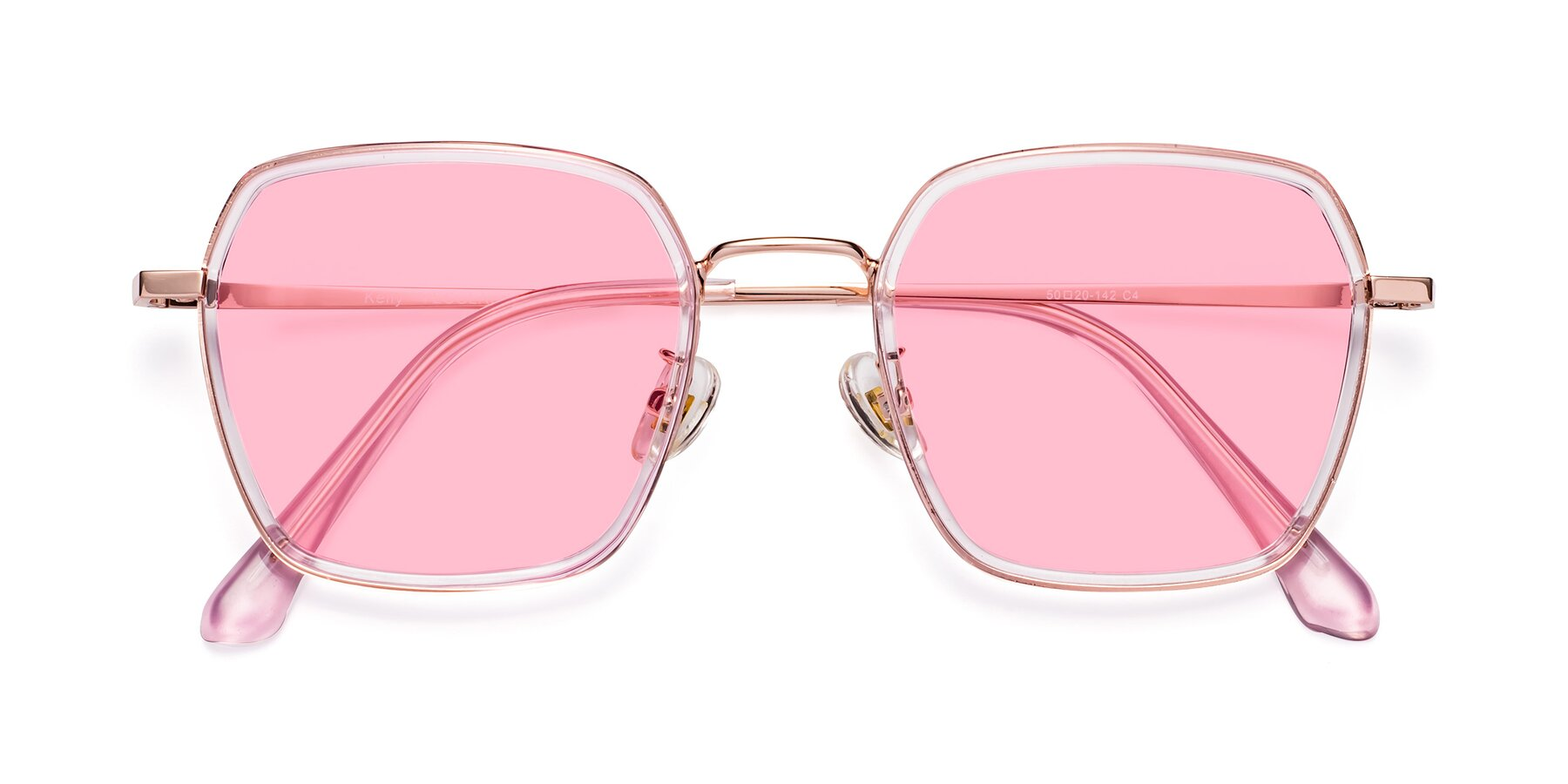 Folded Front of Kelly in Pink-Rose Gold with Medium Pink Tinted Lenses