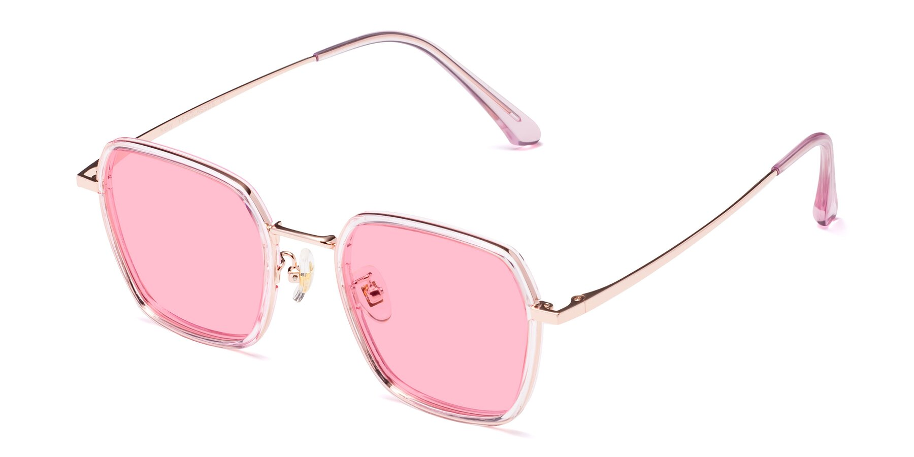 Angle of Kelly in Pink-Rose Gold with Medium Pink Tinted Lenses