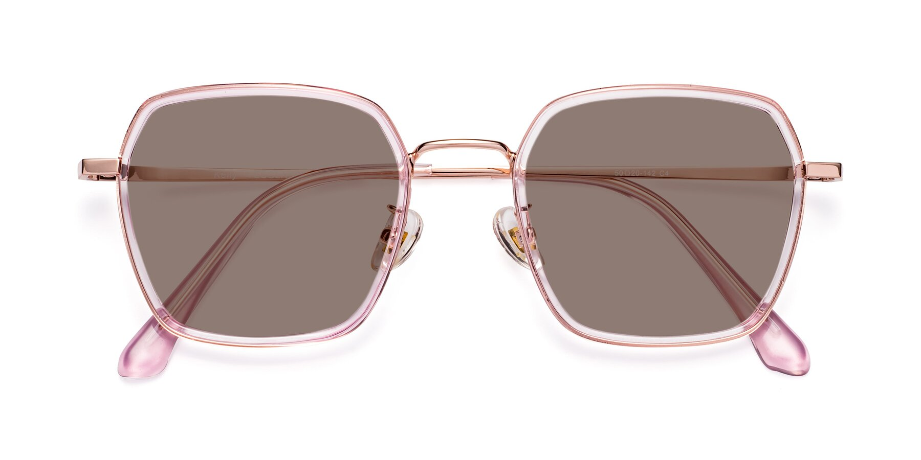 Folded Front of Kelly in Pink-Rose Gold with Medium Brown Tinted Lenses