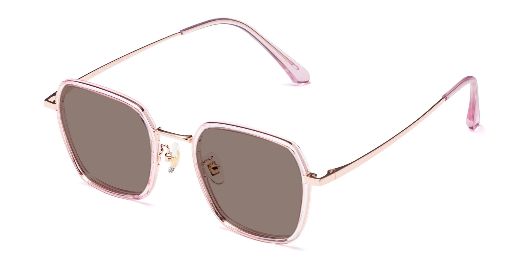 Angle of Kelly in Pink-Rose Gold with Medium Brown Tinted Lenses