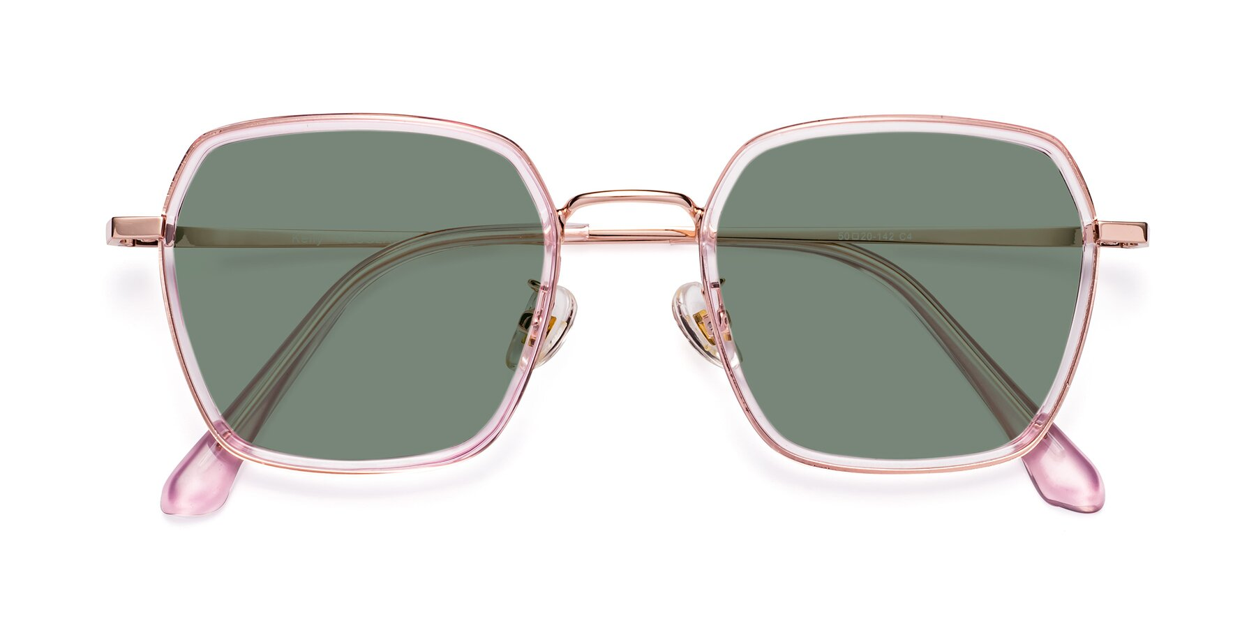 Folded Front of Kelly in Pink-Rose Gold with Medium Green Tinted Lenses