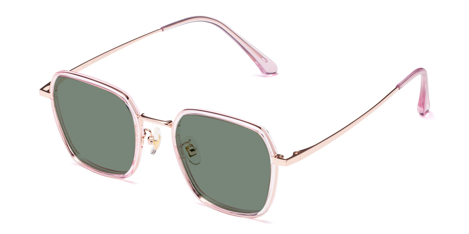 Angle of Kelly in Pink-Rose Gold with Medium Green Tinted Lenses