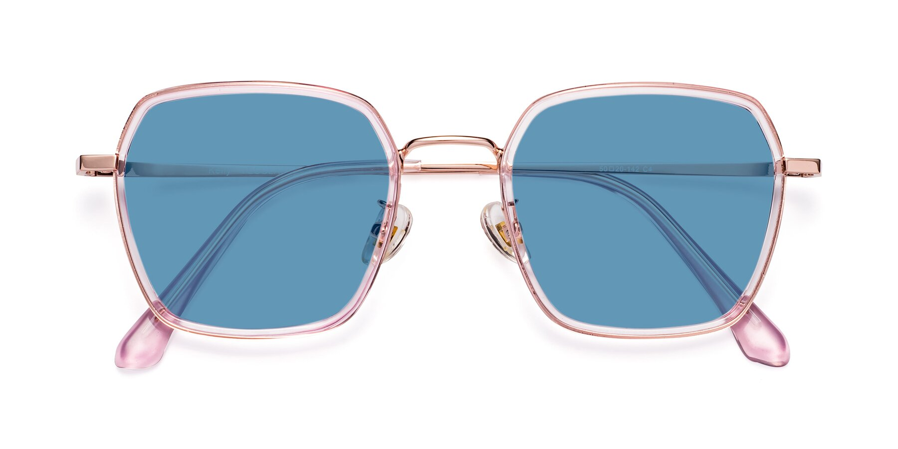 Folded Front of Kelly in Pink-Rose Gold with Medium Blue Tinted Lenses