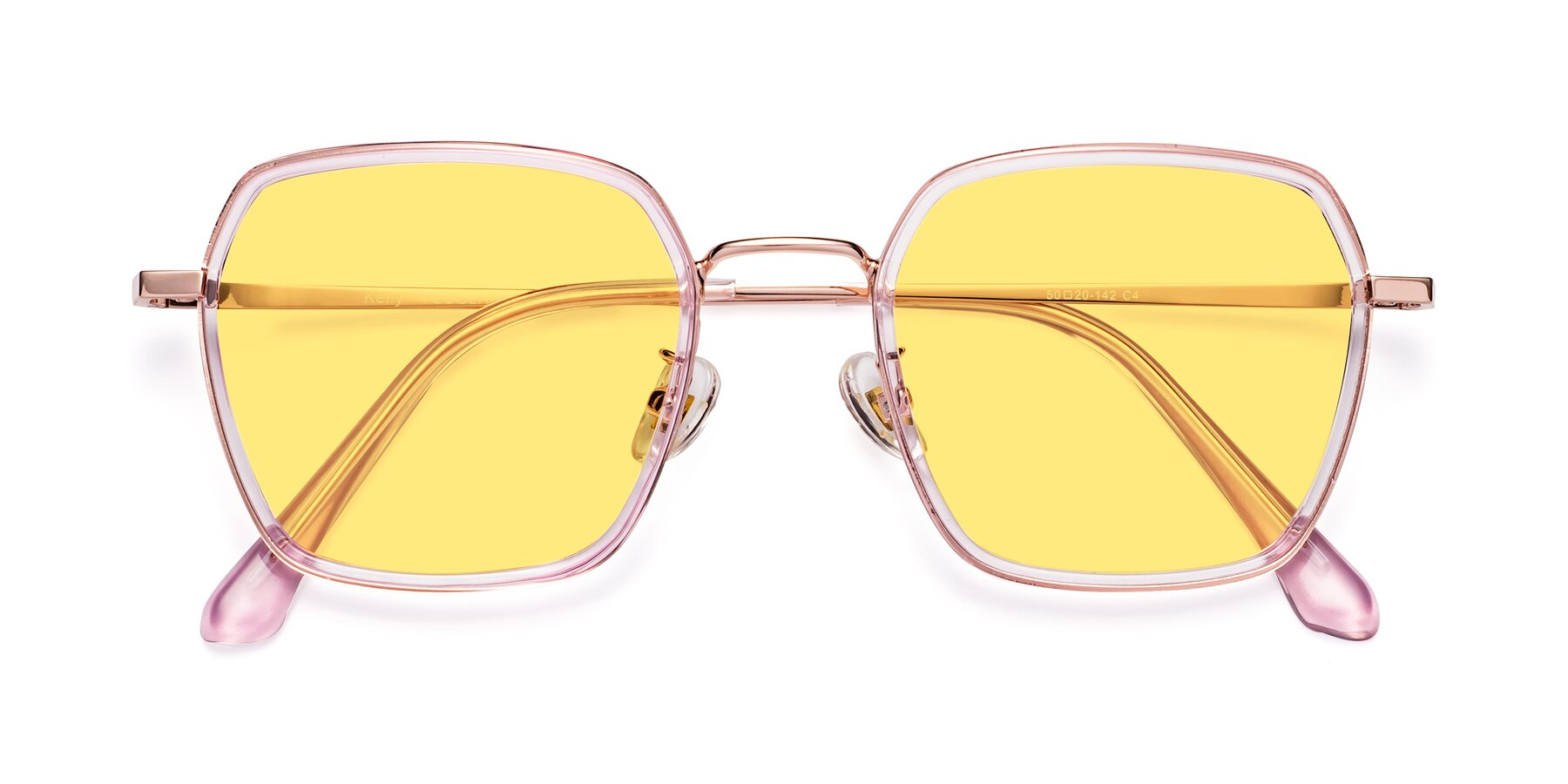 Folded Front of Kelly in Pink-Rose Gold with Medium Yellow Tinted Lenses